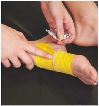 how to apply tape to top of foot step 5