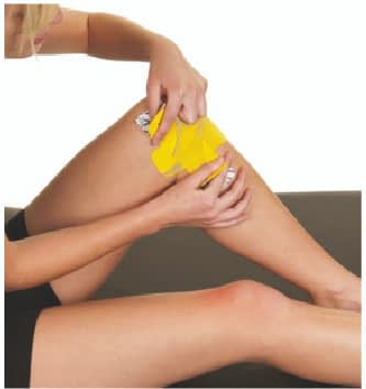 how to apply tape to inner knee step 4