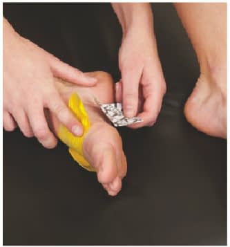 how to apply tape to top of foot step 3
