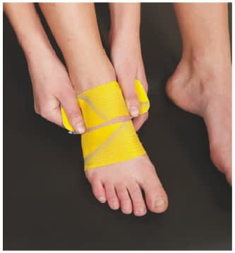 how to apply tape to top of foot step 4